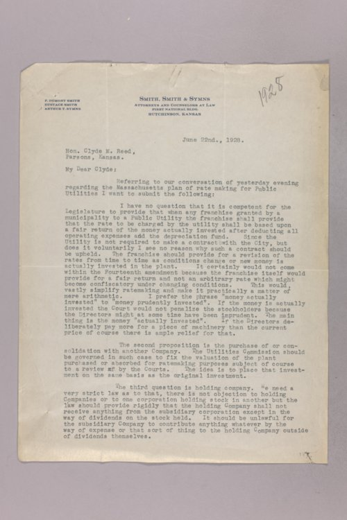 Governor Clyde M. Reed correspondence, Public Service Commission - Page