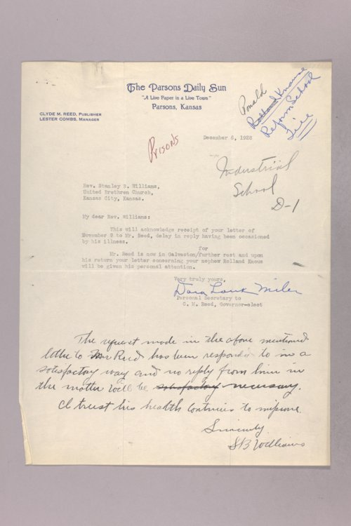 Governor Clyde M. Reed correspondence, Kansas State Industrial Reformatory - Page