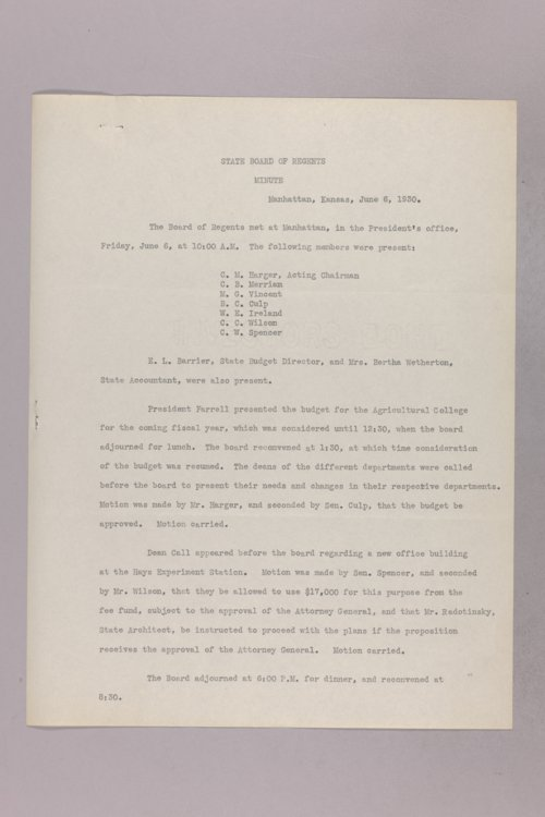 Governor Clyde M. Reed correspondence, Board of Regents - Page
