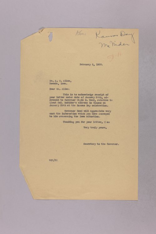 Governor Clyde M. Reed correspondence, requests - Page
