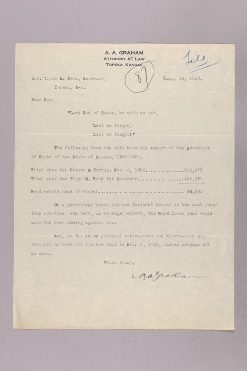 Governor Clyde M. Reed correspondence, Secretary of State - Page