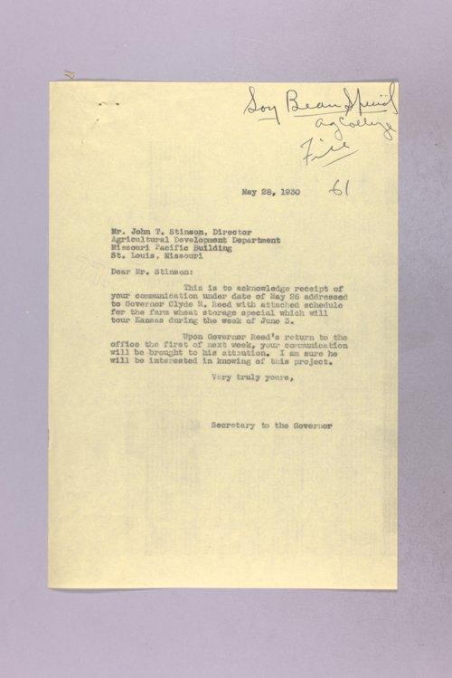 Governor Clyde M. Reed correspondence, soybean production - Page