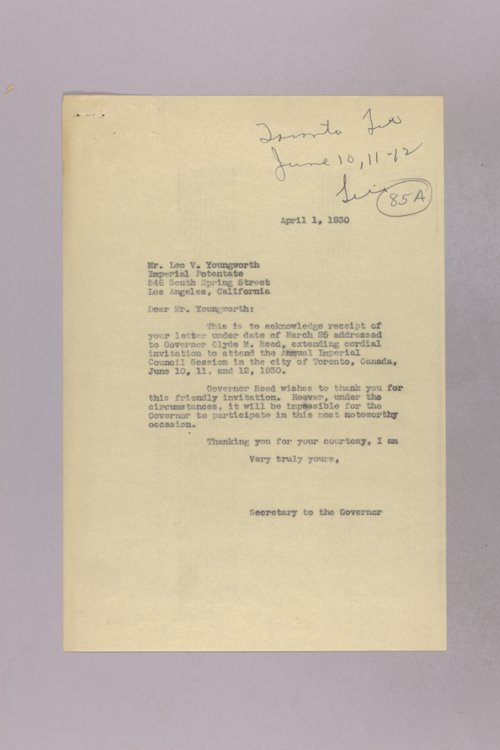 Governor Clyde M. Reed correspondence, invitations to State events - Page