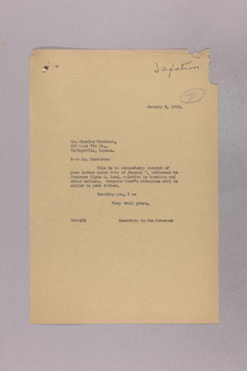 Governor Clyde M. Reed correspondence, tax matters - Page