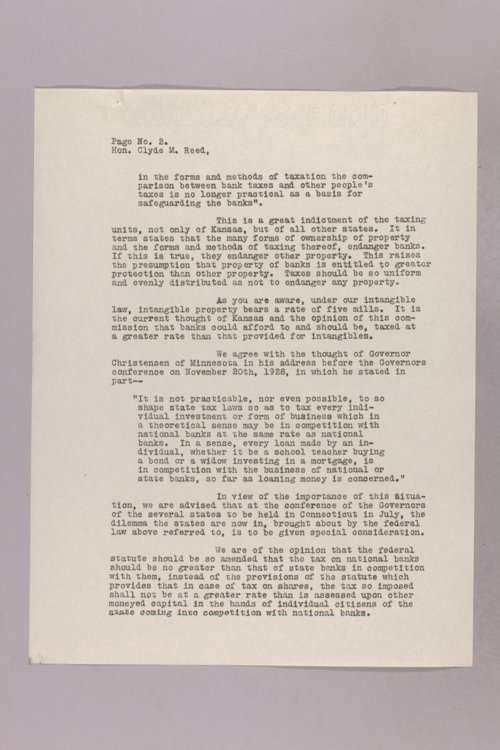 Governor Clyde M. Reed correspondence, Tax Code Commission - Page