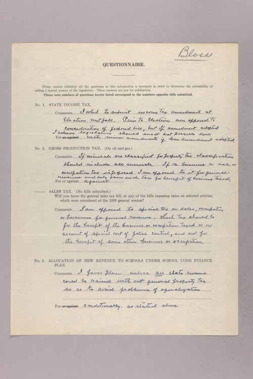 Governor Clyde M. Reed correspondence, tax questionnaires - Page