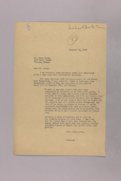 Governor Clyde M. Reed correspondence, school textbook commission - Page