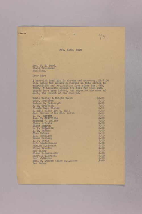 Governor Clyde M. Reed correspondence, State Treasurer - Page
