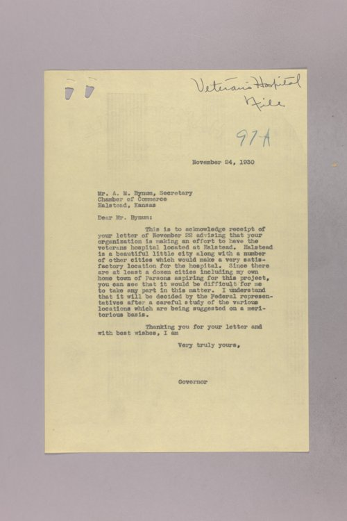 Governor Clyde M. Reed correspondence, Veterans Hospital - Page
