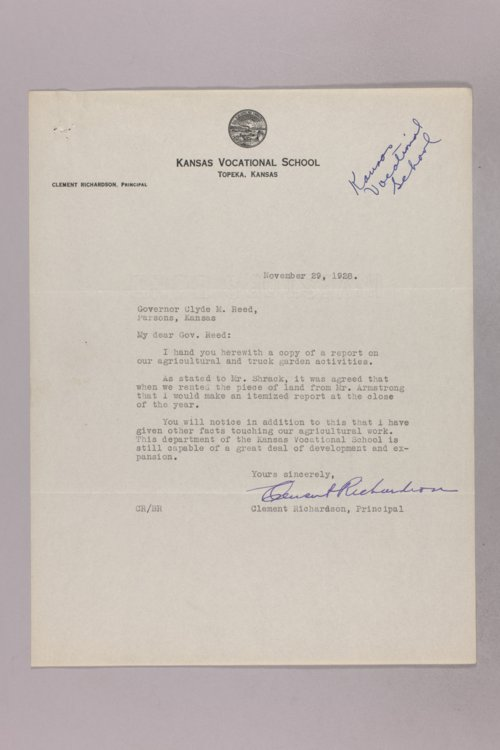 Governor Clyde M. Reed correspondence, vocational schools - Page