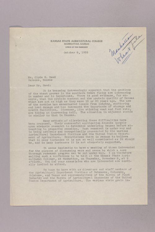 Governor Clyde M. Reed correspondence, wheat - Page