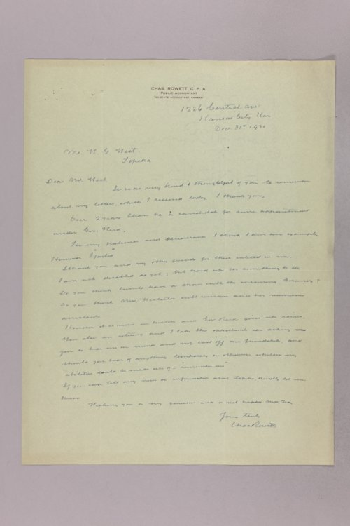 Governor Clyde M. Reed correspondence, State Accountant - Page