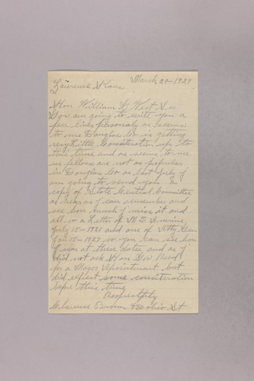 Governor Clyde M. Reed correspondence, Board of Administration - Page