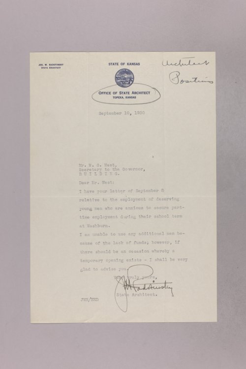 Governor Clyde M. Reed correspondence, State Architect - Page