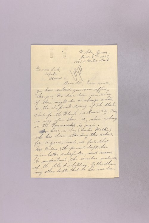 Governor Clyde M. Reed correspondence, School for the Blind