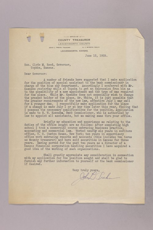 Governor Clyde M. Reed correspondence, Blue Sky Department applications - Page
