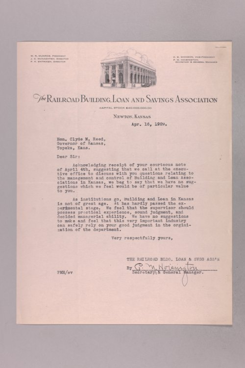 Governor Clyde M. Reed correspondence, Building and Loan Conference applications - Page