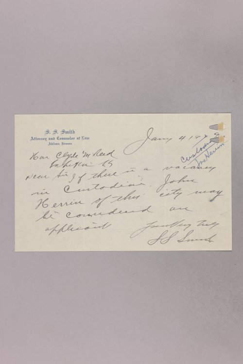 Governor Clyde M. Reed correspondence, State Capitol custodian applications - Page