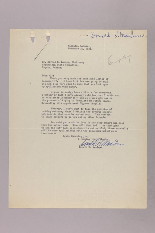 Governor Clyde M. Reed correspondence, Election Commission applications - Page