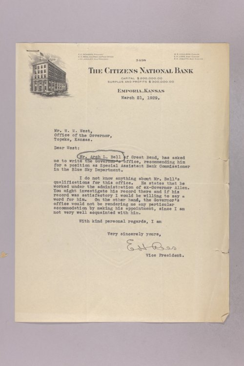 Governor Clyde M. Reed correspondence, Bank Commissioners Officers applications - Page
