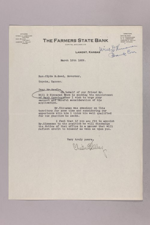 Governor Clyde M. Reed correspondence, Bank Commissioner Officers applications - Page