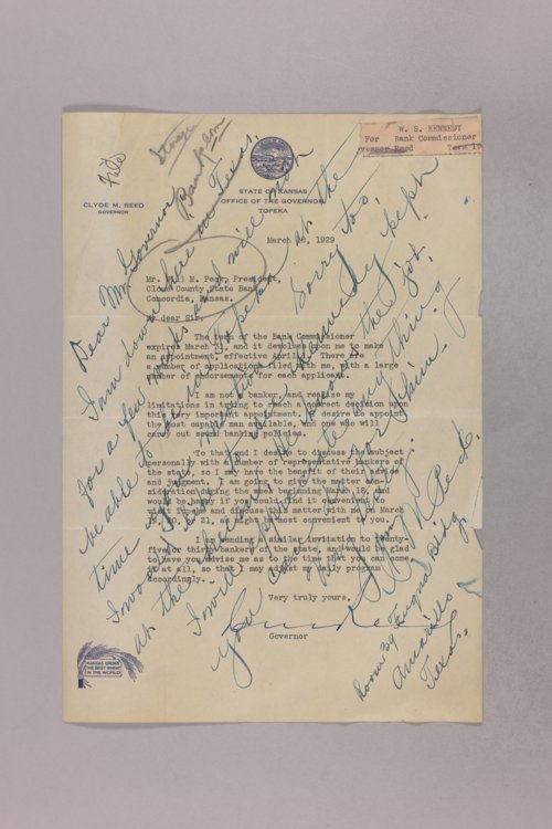 Governor Clyde M. Reed correspondence, Bank Commissioner applications - Page