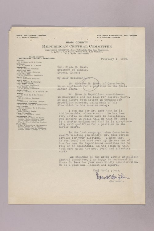Governor Clyde M. Reed correspondence, Barber Board applications - Page
