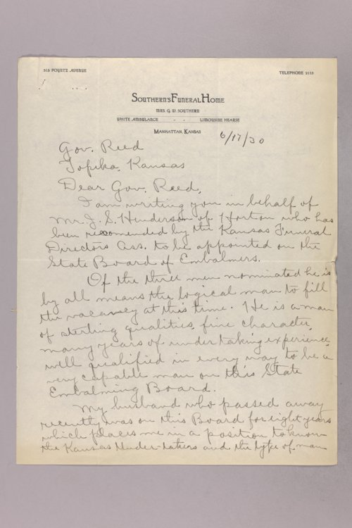 Governor Clyde M. Reed correspondence, Embalming Board applications - Page