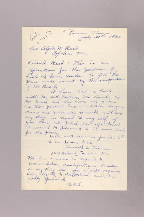 Governor Clyde M. Reed correspondence, Deputy Game Warden applications - Page