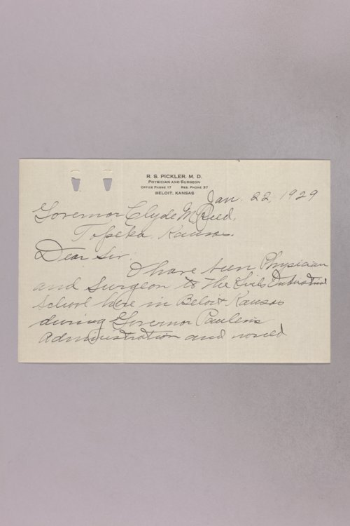 Governor Clyde M. Reed correspondence, Girls' Industrial School applications - Page