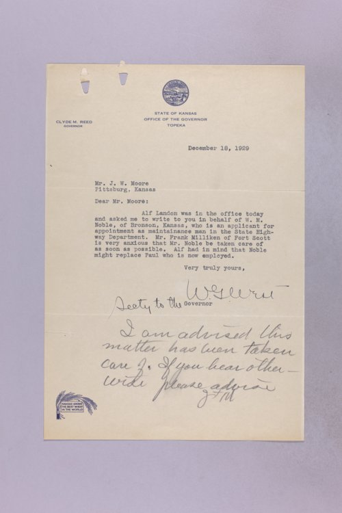 Governor Clyde M. Reed correspondence, Highway Department applications, N-R applicants - Page