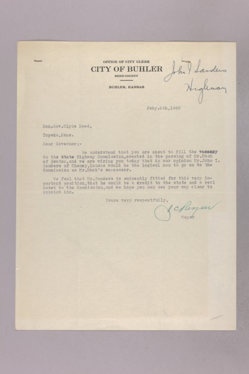 Governor Clyde M. Reed correspondence, Highway Department applications, S applicants - Page