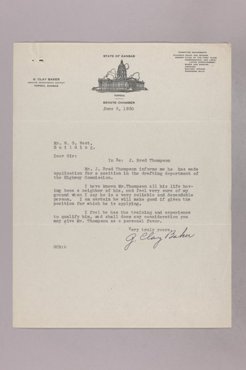Governor Clyde M. Reed correspondence, Highway Department applications, T applicants - Page