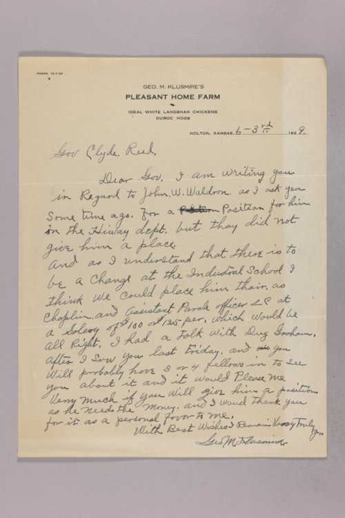 Governor Clyde M. Reed correspondence, Highway Department applications, W applicants - Page