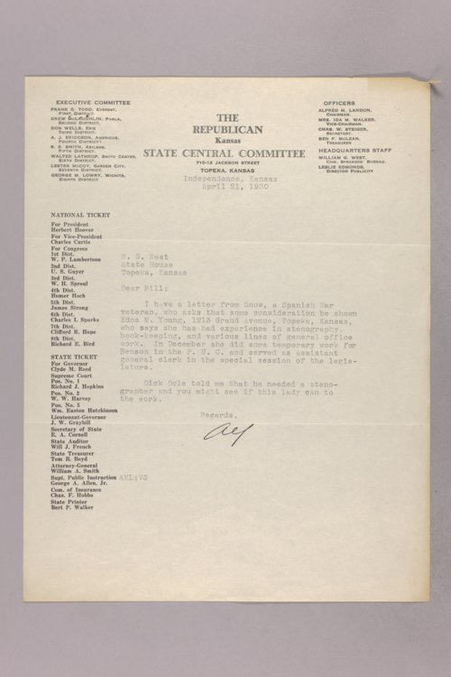 Governor Clyde M. Reed correspondence, Highway Department applications, X-Z applicants - Page
