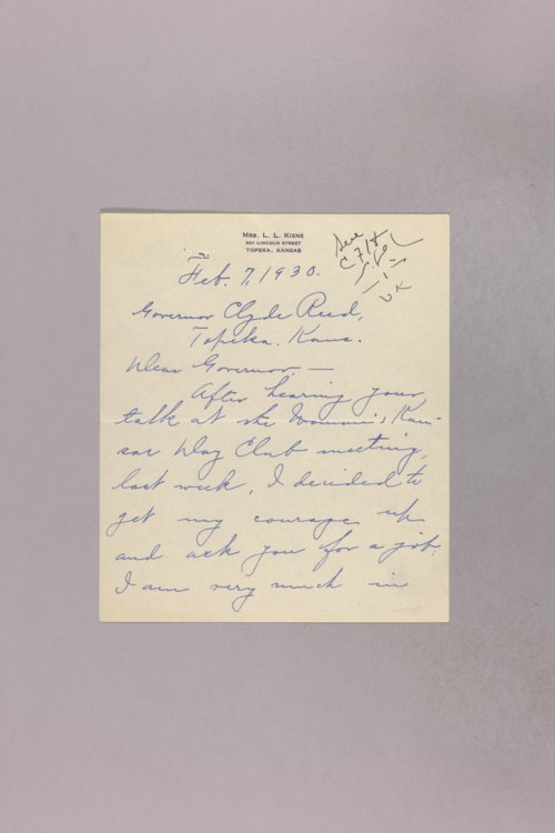 Governor Clyde M. Reed correspondence, Hotel Commissioner applications - Page