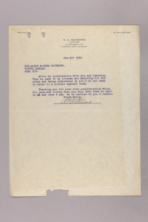 Governor Clyde M. Reed correspondence, 29th District Judge applications - Page