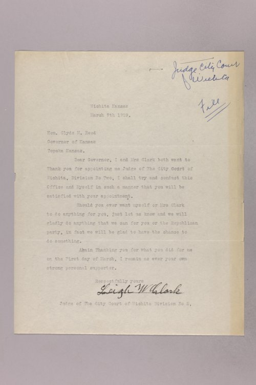 Governor Clyde M. Reed correspondence, Wichita City Court Judge applications - Page
