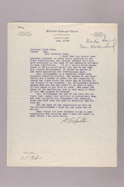 Governor Clyde M. Reed correspondence, Norton Sanitorium applications - Page