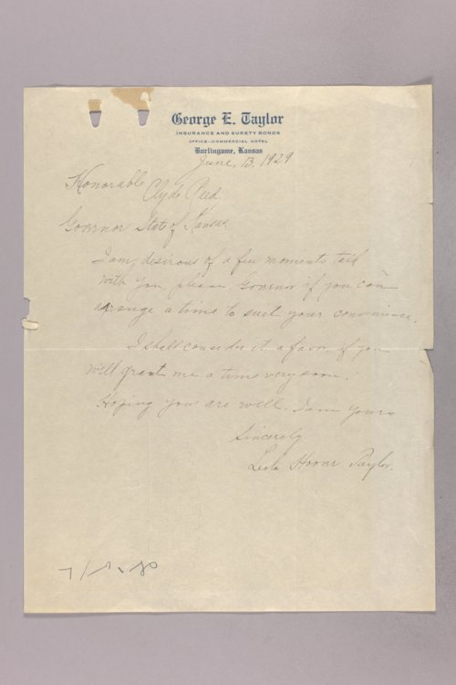 Governor Clyde M. Reed correspondence, Orphans Home applications - Page