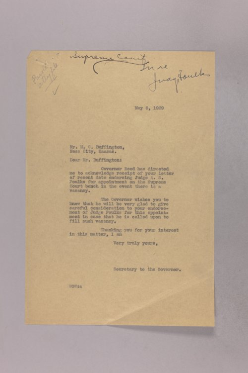 Governor Clyde M. Reed correspondence, Supreme Court Judge applications - Page