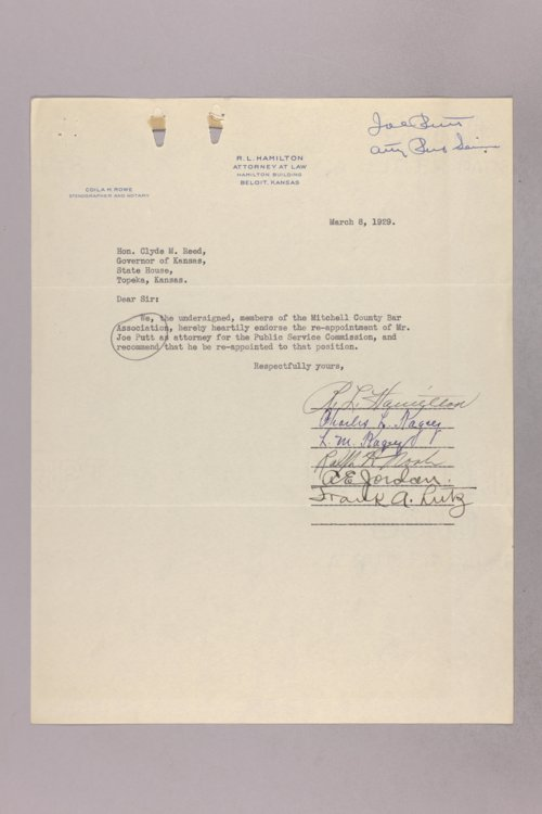 Governor Clyde M. Reed correspondence, Public Service Commission applications - Page