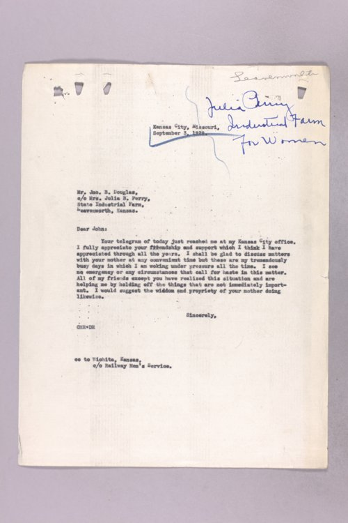 Governor Clyde M. Reed correspondence, State Penitentiary applications - Page