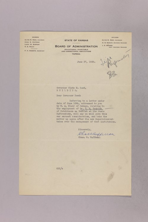 Governor Clyde M. Reed correspondence, Kansas State Industrial Reformatory applications