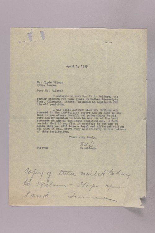 Governor Clyde M. Reed correspondence, Soldiers' Home, Board of Managers applications - Page