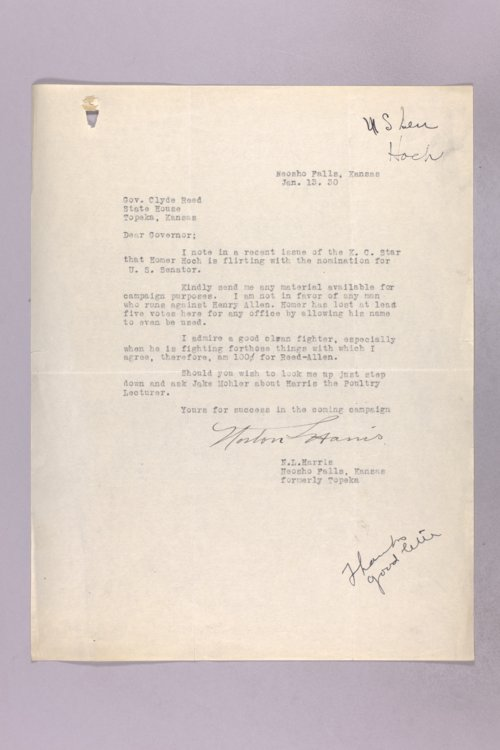 Governor Clyde M. Reed correspondence, U. S. Senate applications, Henry J. Allen - Page