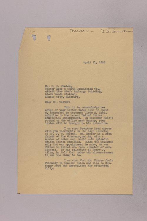 Governor Clyde M. Reed correspondence, U. S. Senate applications, Joseph Mercer - Page