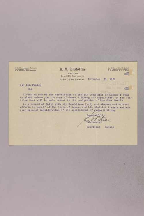 Governor Clyde M. Reed correspondence, U. S. Senate applications, James G. Strong - Page