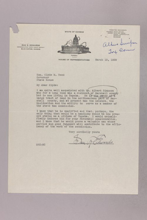 Governor Clyde M. Reed correspondence, Tax Commissioner applications - Page