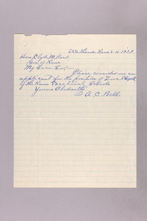 Governor Clyde M. Reed correspondence, vocational school applications - Page